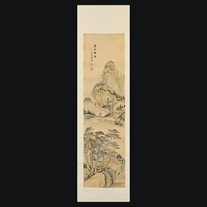 姜京璞 (清代画家・中国画) 春山緑波 山水図