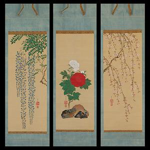 琳派! 藤永満・鶯笠 花卉図 三幅対 藤・牡丹・桜