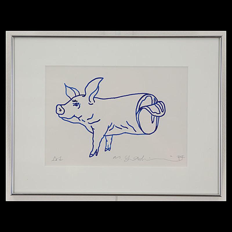 吉村益信「豚;PigLiv」ペン画