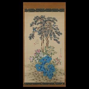 趙之璧(清代/文人画家)熊代熊斐 花鳥図 合作 特大幅