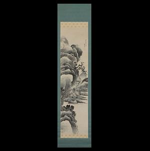 菅井梅関(東斎落款)倣江稼圃 淡彩山水図